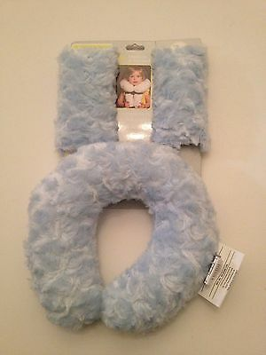 Blankets And & Beyond Baby Boy Blue Head Rest Travel Pillow Seat Belt Covers