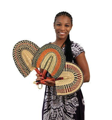 "Fan: Burkina Faso Hand Woven 16"" Long US Seller"