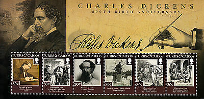 Turks & Caicos 2012 MNH Charles Dickens 200th Birth Anniv 6v M/S Literature