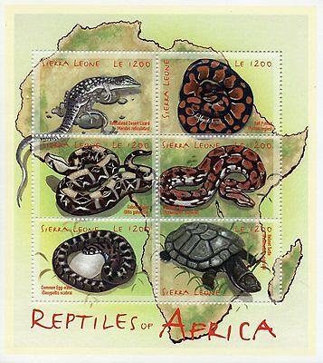 Sierra Leone 2000 MNH Reptiles of Africa 6v M/S Snakes Lizards Turtles