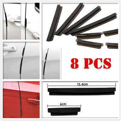 Black Soft Car Side Door Edge Defender Protector Trim Guard Protection Strip 8pc