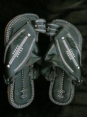 Size 8 Islamic Arabian Leather Najdi Mens Sandals - Black and Silver Free Ship