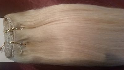 """20"""" Clip in #60  Beautiful Indian Human Remy 8pc hair extensions 100g straight"""