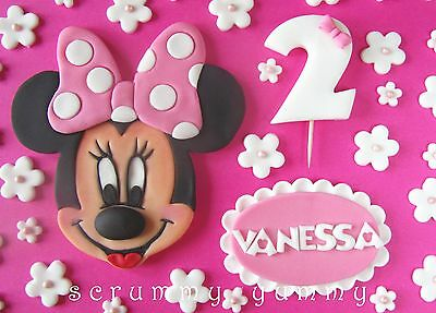 Minnie Mouse cake topper edible sugar decoration birthday set girl white flowers