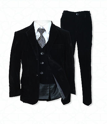 5 PC Boys Black Velvet Suit, Pageboy Suits, Wedding Suit Children's Formal Wear