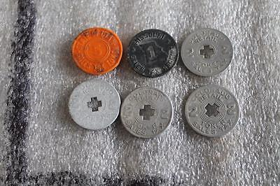 LOT OF 6 Antique COLORADO UTAH & MISSOURI State Sales Tax Tokens 1, 2, & 5 Cents