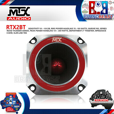 "Mtx Rtx2bt 2"" 300w Road Thunder Extreme Pro Series Spl Tweeter Very Loud"