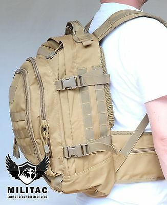 30 Litre Tan Backpack / Desert Tactical Military Molle Rucksack, Army Hiking Bag