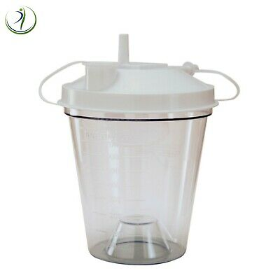 Disposable Suction Canister Turret Lid 800CC Rigid Plastic Measurements on Side