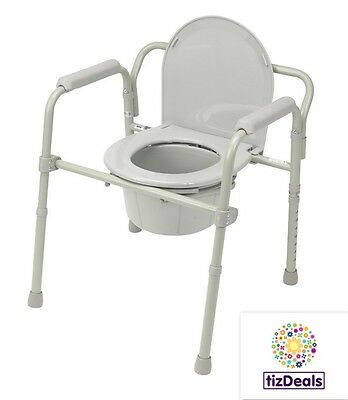 Bedside Commode Steel Portable Folding Toilet Lid Potty Chair Safety Padded Arms