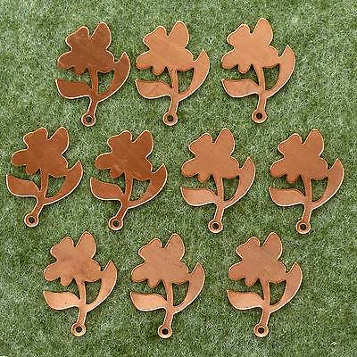 Enamelling Flower with Leaves 10x Copper Blank Craft Shape