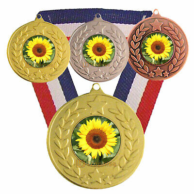 Sunflower Medal & Ribbon, Free Engraving, Gardening Trophy, Sunflower Trophy