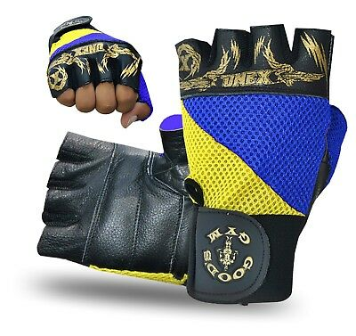 Weight Lifting Leather Fitness Gloves Gym-Cycling Training Support Glove Sports