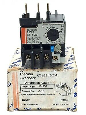 NHP Sprecher+Schuh CT3-23 Thermal Overload Relay 16-23A 600V Differential Action