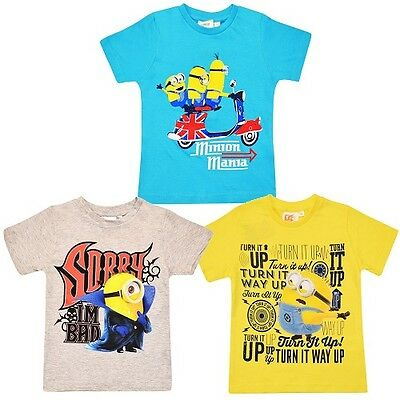 NEW Boys Girls Kids Official Minions Movie Summer T Shirt Top Age 2 3 4 5 6 7 8
