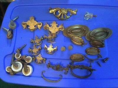 Antique Drawer Pulls Wheels Knobs Lot