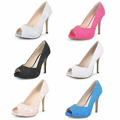 Ladies Peep Toe Court Shoes Womens High Heel Evening Party Wedding Lace Pumps