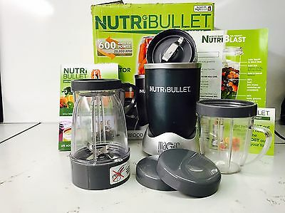 NutriBullet 600 W Grey COMPLETE 12 pc SET Nutrition Extractor Blender UK Seller