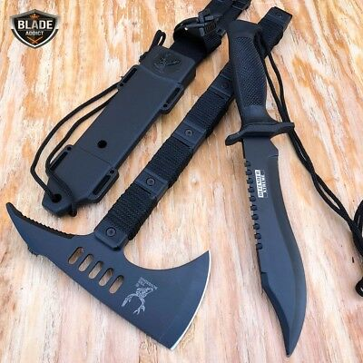 2PC BLACK Tomahawk Tactical Throwing Hatchet Hunting AXE Knife + Fixed Blade