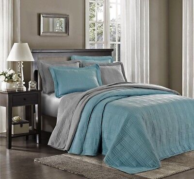"""3-piece Oversized 118""""x106"""" Plaid Quilted Bedspread Coverlet Set King, Spa Blue"""