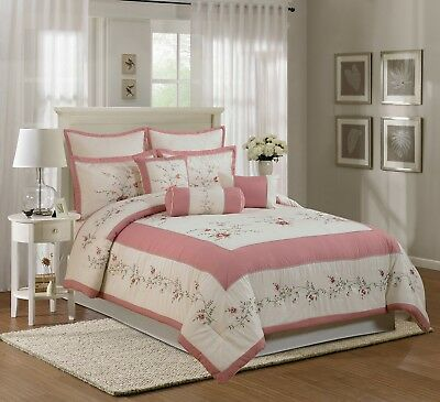 7pcs Ivory Pink Green Colorful Rose Embroidery Comforter Set Cal/California King