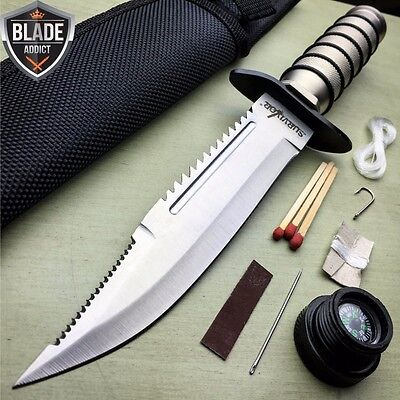 "10"" TACTICAL SURVIVAL Rambo Hunting FIXED BLADE KNIFE Army Bowie w/ SHEATH"