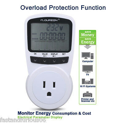 Plug In Power Meter Energy Monitor Kwh Electricity Consumption Usage Calculator