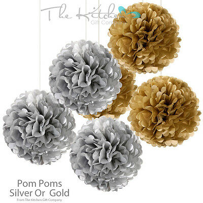 Set Of 3 Luxury Gold or Silver Paper Pom Poms Wedding Party Venue Decorations
