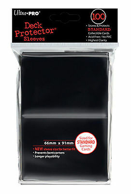100ct Black Standard Deck Protector Card Sleeves Pokemon MTG Sports + Ultra Pro