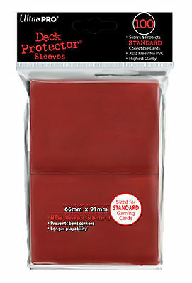 100ct Red Standard Deck Protector Card Sleeves Pokemon MTG Sports + Ultra Pro