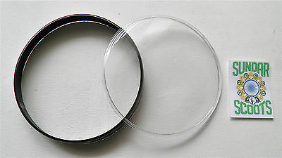 REPLACEMENT 105mm BLACK SPEEDO RIM & PLASTIC LENS. GOOD FOR VESPA PX200 SCOOTS