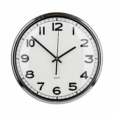 Wall Clock Silver Metal Edge with White Dial Mirrored for Homes & Offices - NEW