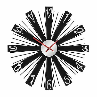 Wall Clock Black Body & Mirrored MDF, Acrylic Glass with Red Hands - Brand NEW