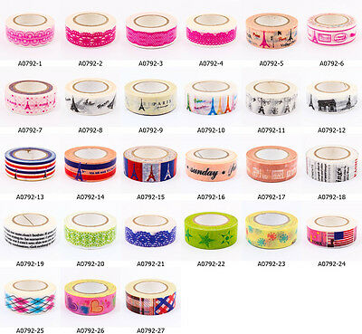 Cute Vintage Craft DIY Washi Tape 15mm Deco Kit Party Scrapbooking Gift A0792