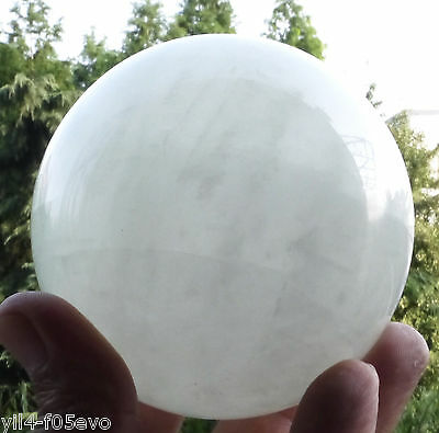 72MM Natural White fluorite Crystal Sphere Glow In The Green Dark Stone