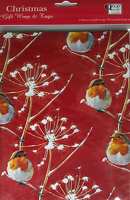 Robin Redbreast Xmas Gift Wrap Pack 6 Sheets + 6 Tags Christmas Wrapping Paper