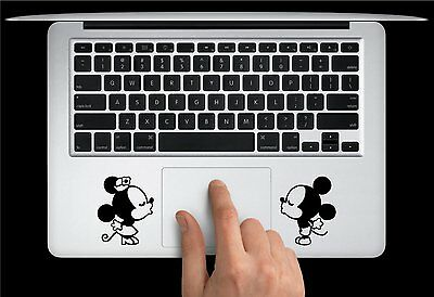 Minnie and Mickey Mouse vinyl sticker for laptop. Black and Australia made