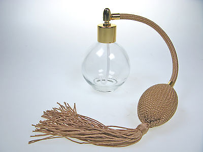 Perfume Atomizer Round 78Ml Bottle With Olive Gold Tassel & Funnel