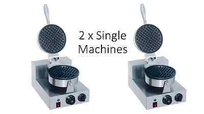 New 2 X Single Round Waffle Baker Grill Machine Maker Commercial