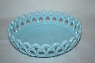 Vintage Vallerysthal Pv France Blue Opaline Milkglass Bowl Open Lace Edge 6.5""