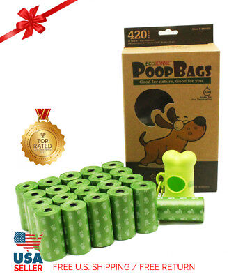 Top Rated EcoJeannie Biodegradable Dog Poopbags 420 Bags(20X21Rolls)+1 Dispenser