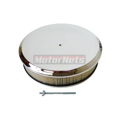 "14"" Round Deep Dish Style Chrome Air Cleaner Street Hot Rod Rat Breather Filter"