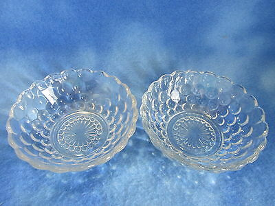 Anchor Hocking Clear Crystal Bubble Small Fruit/Dessert Bowls