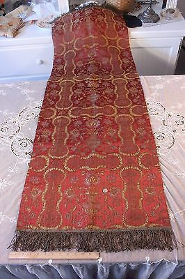 Antique French Silk&Gold Metallic Jacquard Woven Fabric Panel W/Fringe c1880