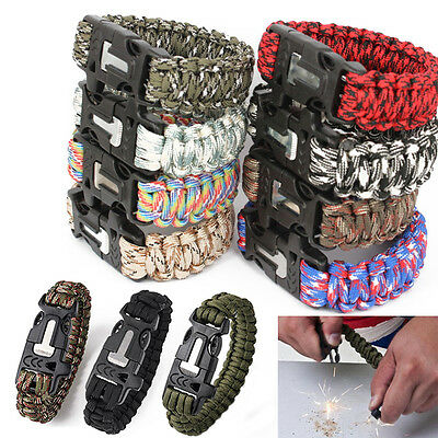 Outdoor Survival Bracelet Paracord Whistle Gear Flint Fire Starter Scraper Kits