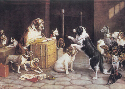 Huge A1 size Vintage Canvas Wall Art Print Poster Unframed Dogs Playing Poker