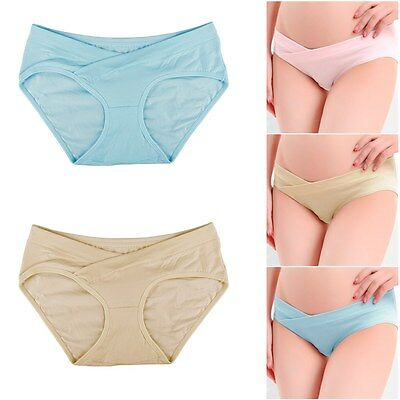 Comfy Women Solid Low Rise Maternity Pregnant Shorts Panties Briefs Underwear