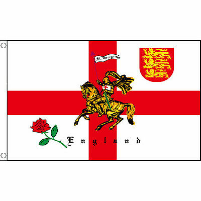 ENGLAND ST GEORGE CHARGER FLAG 5 x 3 FT - English Rose Horse Crusader 3 Lions