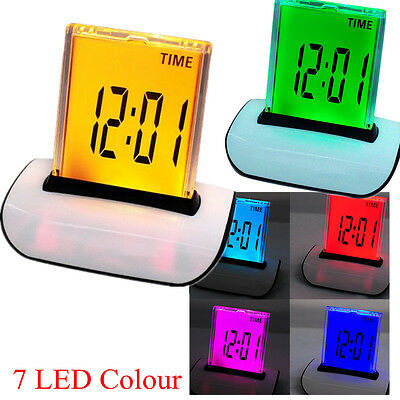 7 LED Color Changing Digital LCD Thermometer Calendar Alarm Clock
