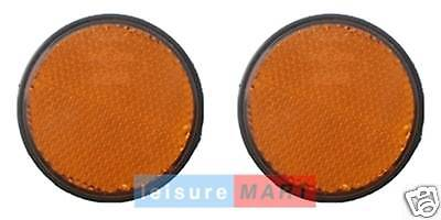 Pair of Amber / Orange Reflectors Self Adhesive Round Trailer Side Reflectors